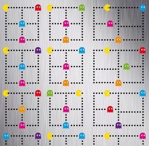 Plakfolie Pacman Arcade Games geborsteld rvs look (60cm)