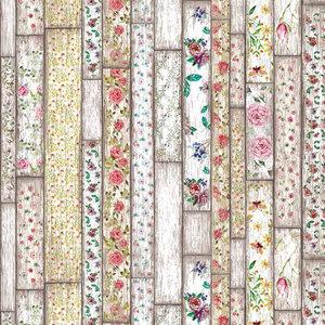 plakfolie houten planken met bloemen