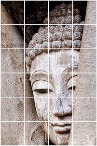 Foto tegelsticker 15x15 'Boeddha in hout' 90x60 cm hxb