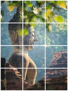 Foto tegelsticker 15x15 'Boeddha in de natuur' 60x45 cm hxb