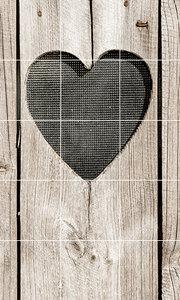 Foto tegelsticker 15x15 'Houten deur met hart beige' 75x45 cm hxb