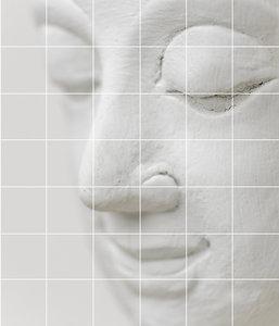 Foto tegelsticker 15x15 'Boeddha wit' 105x90 cm hxb
