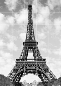 Foto tegelsticker 15x15 'Eiffeltoren Parijs' 105x75 cm hxb