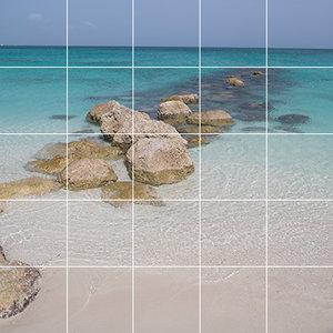 Foto tegelsticker 15x15 'Caribische zee' 75x75 cm hxb