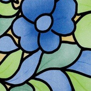 Raamfolie bloemen blauw