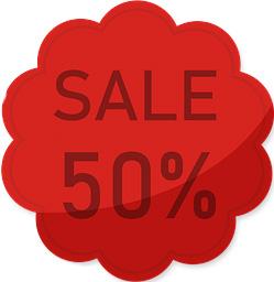 Etalage raamsticker Rood 50%