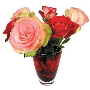 Raamsticker flat flowers rozen